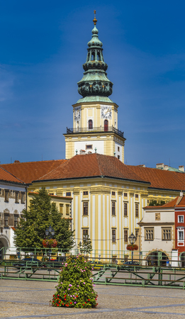 Tower of the Archbishops Castle in the city of Kromeriz. Czech Republic.