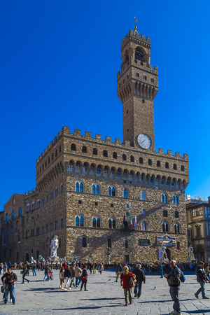FLORENCE, ITALY - October 29, 2014: Palazzo Vecchio - Old Palace, which is now the town hall. Florence. Italy