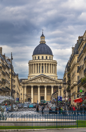 PARIS, FRANCE - May 17, 2016: The Pantheon was originally the church of St. Genevieve, later - the tomb of outstanding people in France Editorial