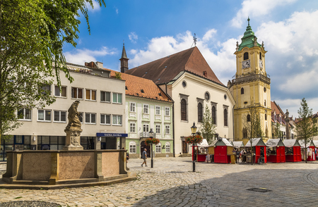 Franciscan Square and the old Town Hall in Bratislava. Slovakia