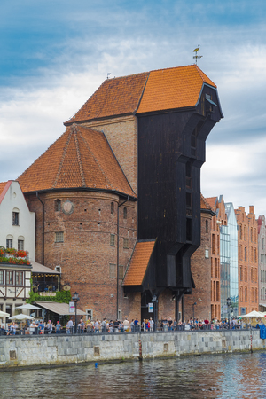 GDANSK, POLAND - AUGUST 02, 2017: Zuraw - Symbol of maritime history of Gdansk - the oldest port crane in Europe, built in 1442-1444 Editorial
