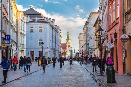 Grodzka Street and The Church of Saint Andrew the Apostle in Krakow (Krakow). Poland Editorial