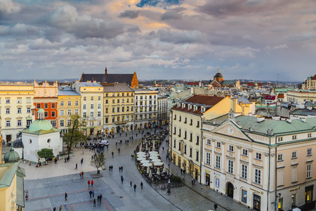 View of the market square and Grodzka street from the tower of the City Hall in Krakow at sunset hours. Poland Editorial