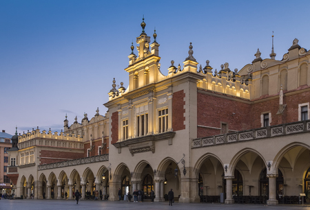 KRAKOW, POLAND - OCTOBER 30, 2018: The Krakow Cloth Hall (Sukiennice) in Lesser Poland, dates to the Renaissance and is one of the citys most recognizable icons.