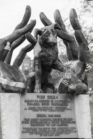KRAKOV, POLAND - NOVEMBER 01, 2017: Monument to the dog Dzok - a monument in Krakow dedicated to the male Dzok, who during the year was waiting for his master, who died at the Grunwald roundabout Editorial