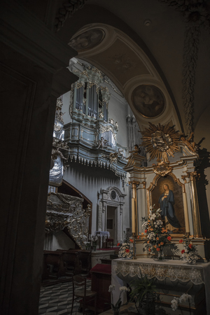 Interior with an icon inside the church of St. Andrew in Krakow. Poland