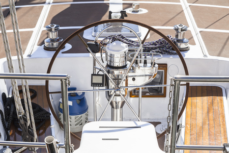 Steering wheel and other controls of a modern yacht