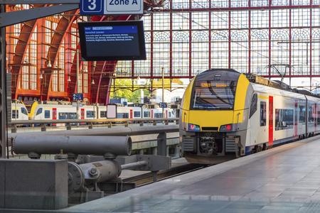 Antwerp, Belgium - Train at the platform of the station in Antwerp