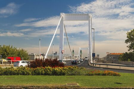 Elisabeth Bridge connecting Buda and Pest across the River Danube Stock Photo