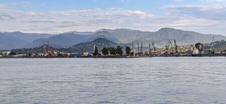 Batumi Georgia Batumi Sea Port on the background of the Caucasus Mountains