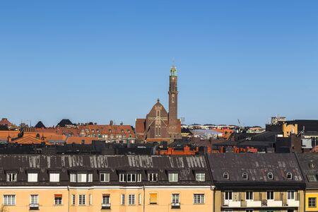 Stockholm, Sweden - Engelbrekt Church towers above city rooftops