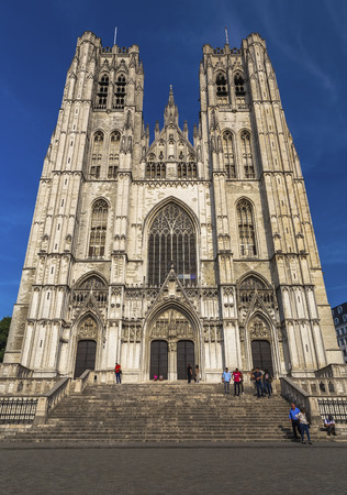 Brussels, Belgium - May 09, 2018: The Cathedral of St. Michael and St. Gudula at the very beginning of the evening in the rays of the sun