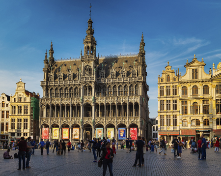 Brussels, Belgium - MAY 09, 2018: Grand Place (Grote Markt) and Kings House (Maison du Roi) in Brussels