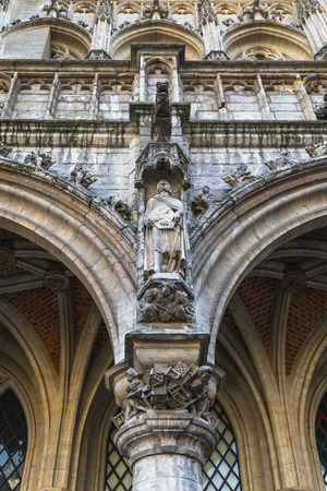 Brussels, Belgium - Fragment of the facade of the Town Hall in Brussels