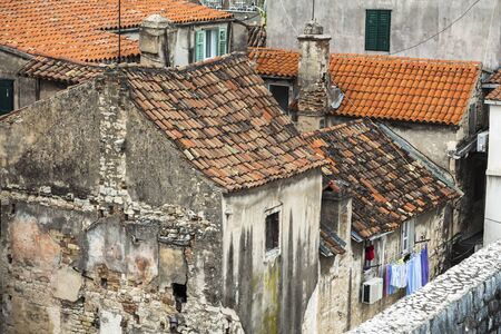 Split, Croatia - cityscape with ancient buildings and tiled roofs in Diocletians Palace Stok Fotoğraf