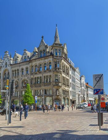 Ghent, Belgium-07 May, 2018: Street in the heart of the historic city of Ghent with a beautiful old building Stock fotó