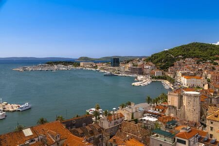 Split, Croatia - Landscape with the image of the city of Split and the sea Bay with yachts and ships