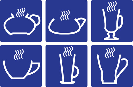 expresso: Coffee Cups - set of isolated vector icons  On blue background  Illustration
