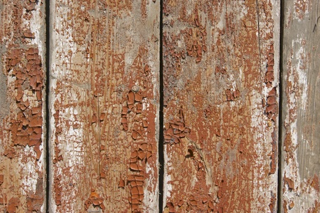 Wooden fence with traces of old paint  photo