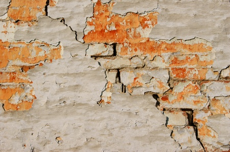 Abstraction  the old brick plastered wall Stock Photo - 19470357