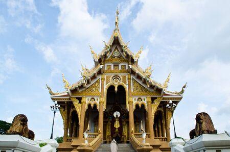 wat Pasangaroon with nice sky in Khon kaen, Thailand