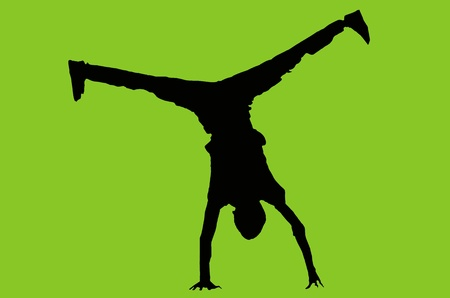 some man Dancing silhouette white green background