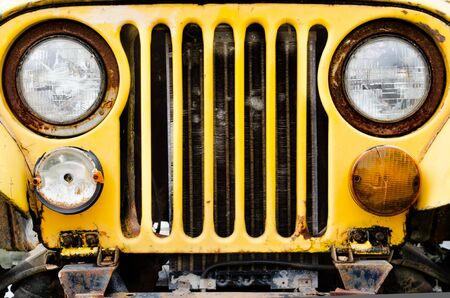 trave: front of  vintage Old car Stock Photo