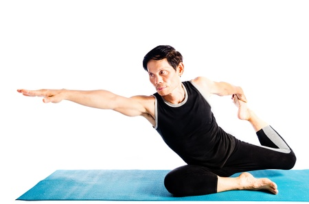 man doing yoga photo