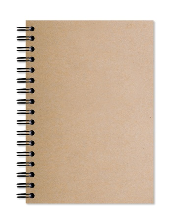 Brown notebook isolated on white background Stock Photo