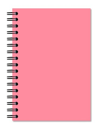 Pink notebook on the white