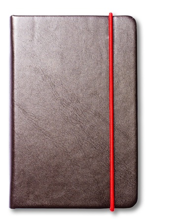 isolate leather note book on white background .jpg Stock Photo