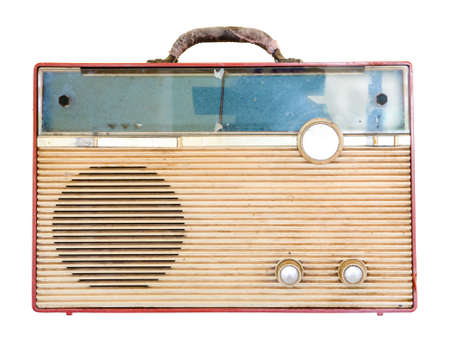 Old retro radio  isolate on white background