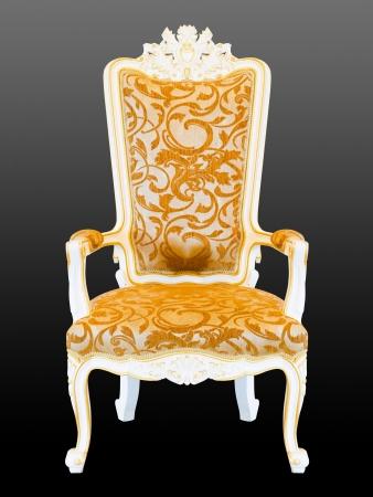 king chair: retro armchair on black background Stock Photo