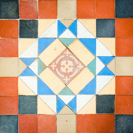 200 Years Old Pattern Tiles Found At Palace In Thailand Stock Photo