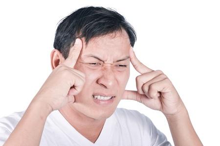 男の頭痛の種を有する白い背景で隔離 写真素材