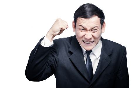 Anger screaming business men hand gesturing fist isolate photo