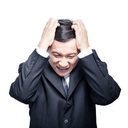 baffled: Business man under pressure