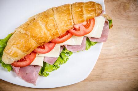 croissant ham cheese Stock Photo