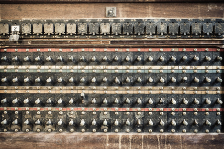 antique factory: An image of an old switching panel Stock Photo