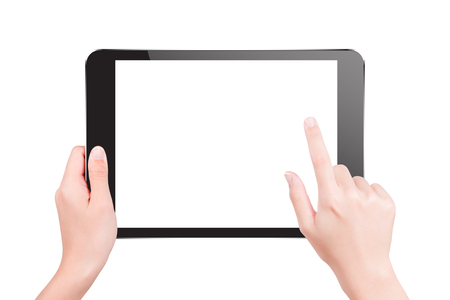 Hand holding tablet pc with touching hand