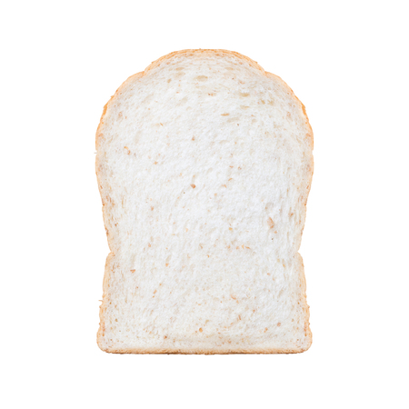 food stuff: Close-up image of one slice of white bread against the white background