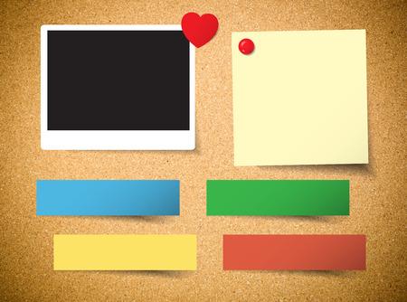 photo board: Blank photo on cork board background