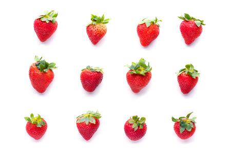 Strawberry on a white background set