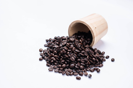 Closeup of coffee beans. on white background