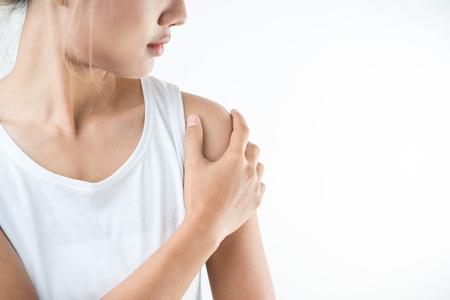 Frau Mit Schmerzen In Der Schulter. Schmerzen Im Menschlichen Körper ...