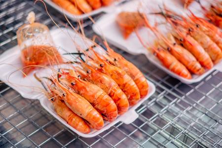 Grilled tiger shrimps street foods