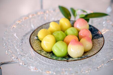 Fruit shaped mung bean dessert