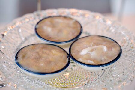 Close up Steamed banana cake