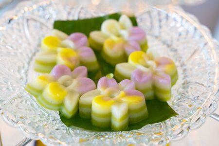 Close up Thai Coconut Milk jelly Stock Photo