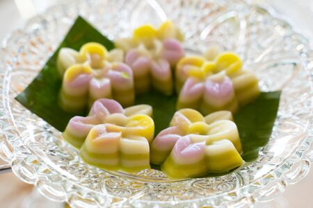Thai Coconut Milk jelly on the glass plate